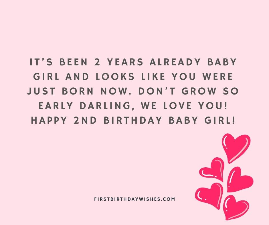 2nd Birthday Wishes for Baby Girl