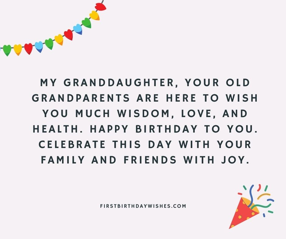 Birthday wishes for your Granddaughter
