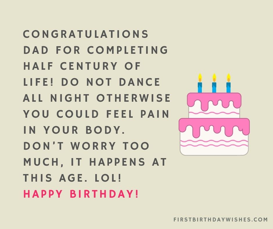funny 50th birthday wishes for dad